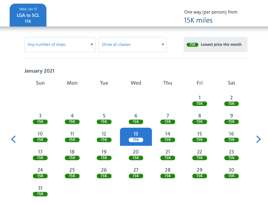 Wide open 15,000 AAdvantage miles one-way from New York to Santiago