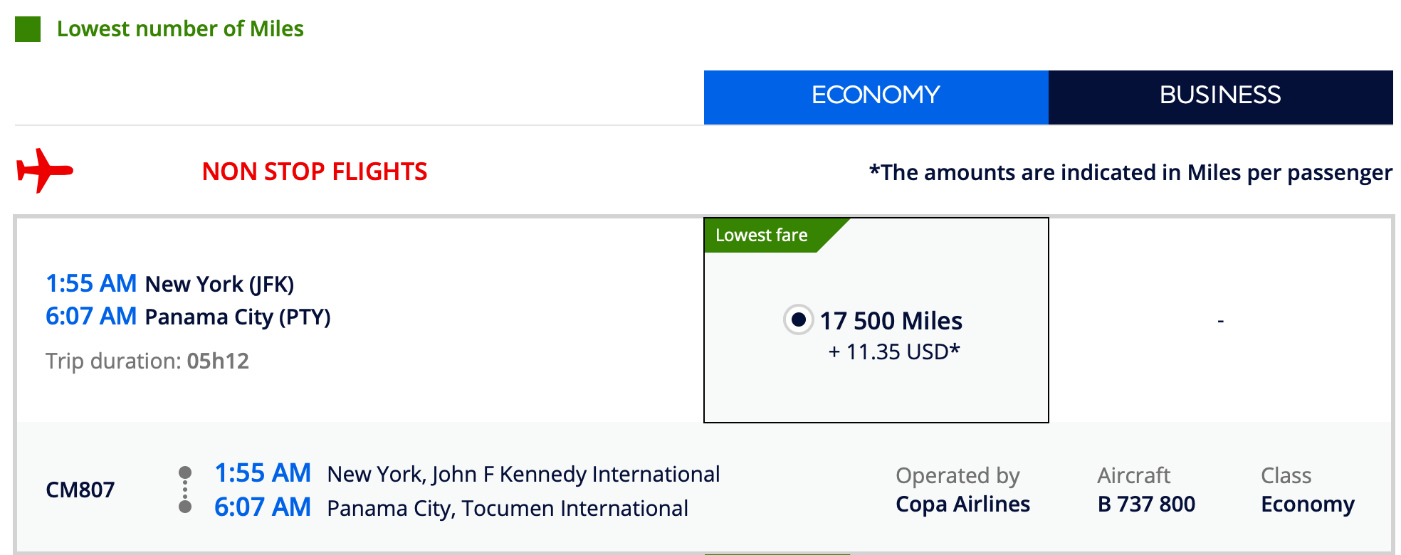 Booking Copa Airlines with Flying Blue Screen Shot