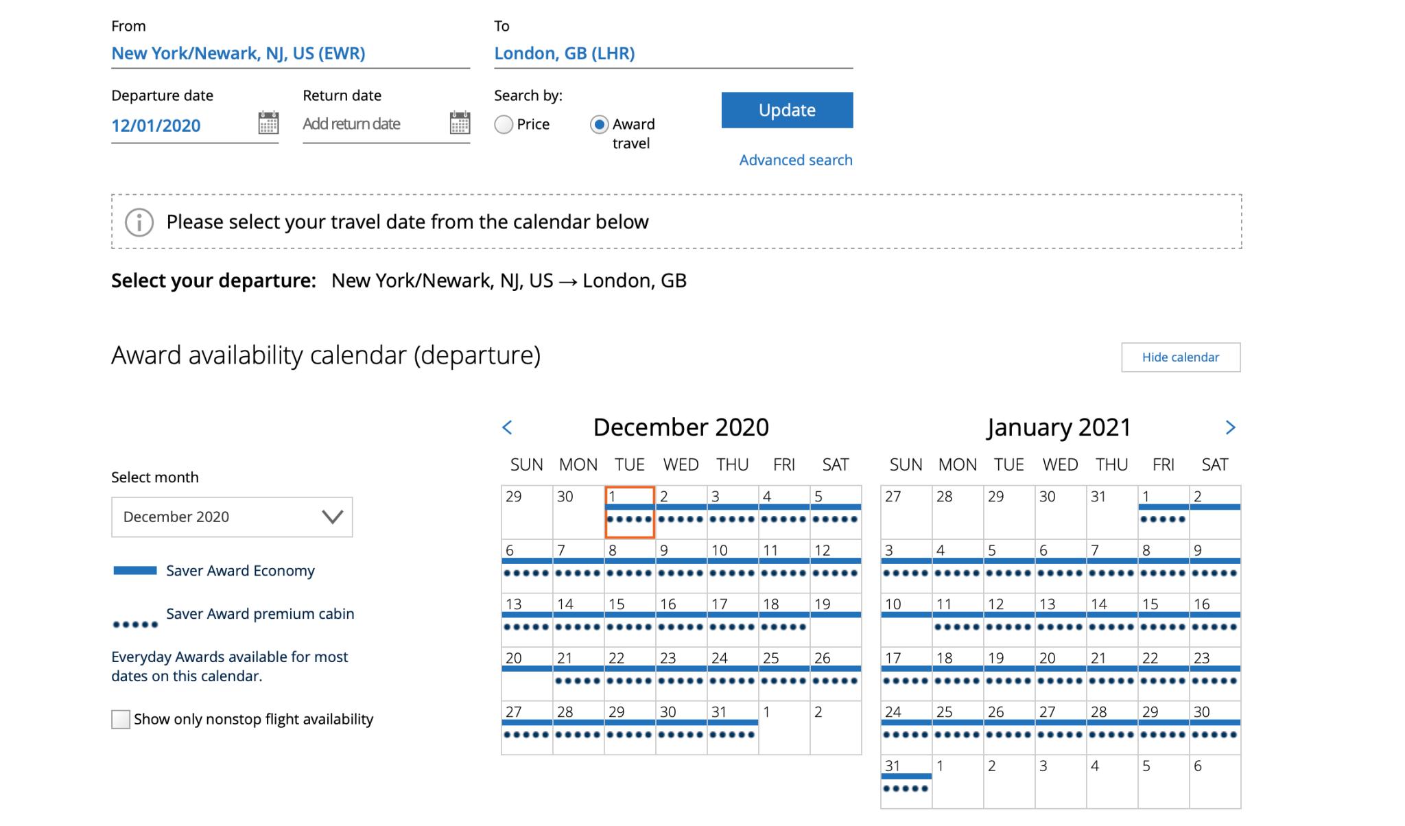 Calendar View of United Award Search Screen Shot