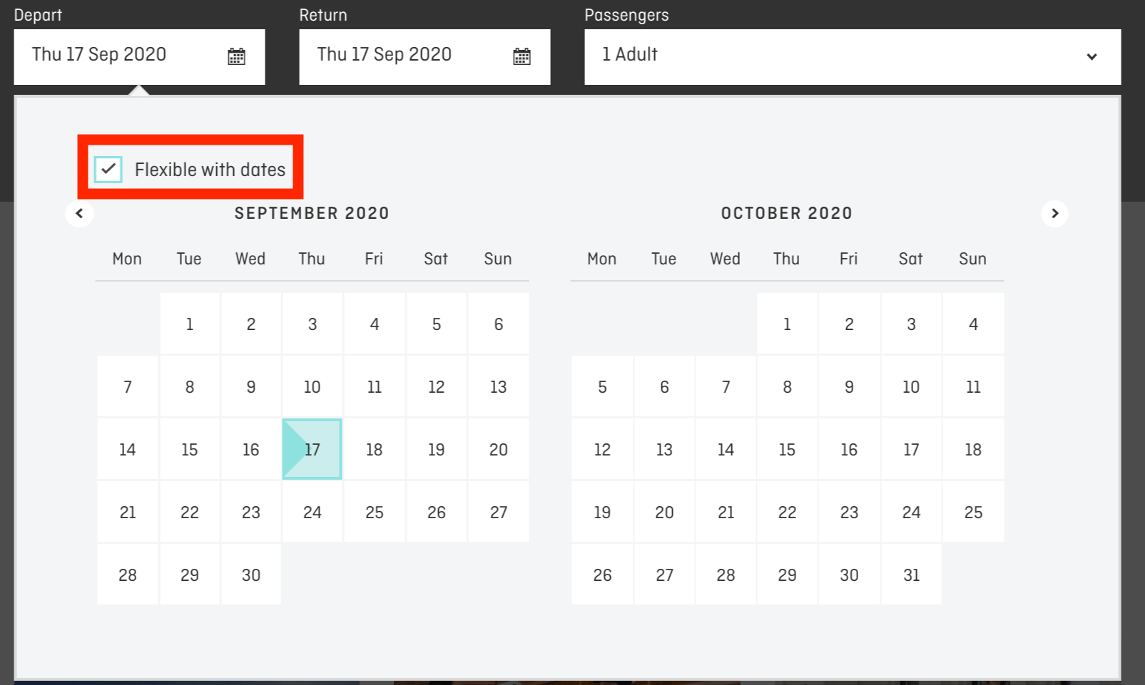 Flexible With Dates Checkbox Screen Shot