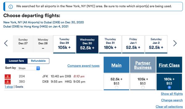 JFK to HKG via DXB Mileage Plan booking screen shot