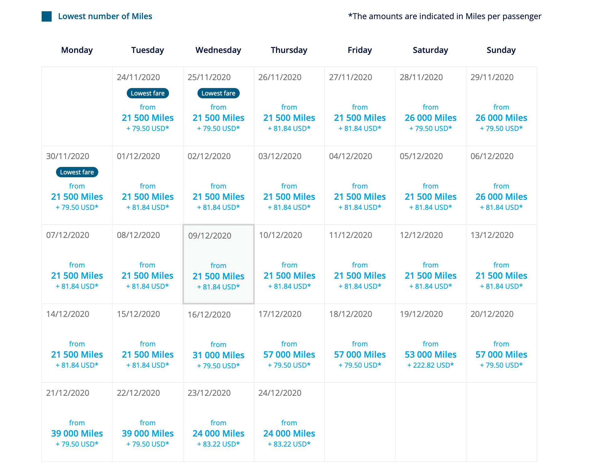 KLM Award Space Calendar View