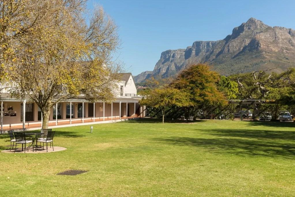 The hotel's garden overlooks Table Mountain.