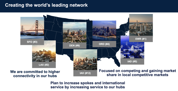 United has seven domestic hubs each of which, it says, has unique strengths raising the question of where it cuts if it comes back smaller post-crisis. (Image courtesy of United Airlines)