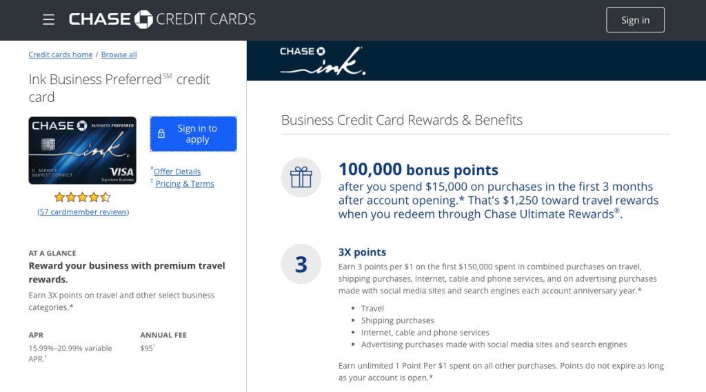 Screenshot of Chase Ink Business Preferred application page