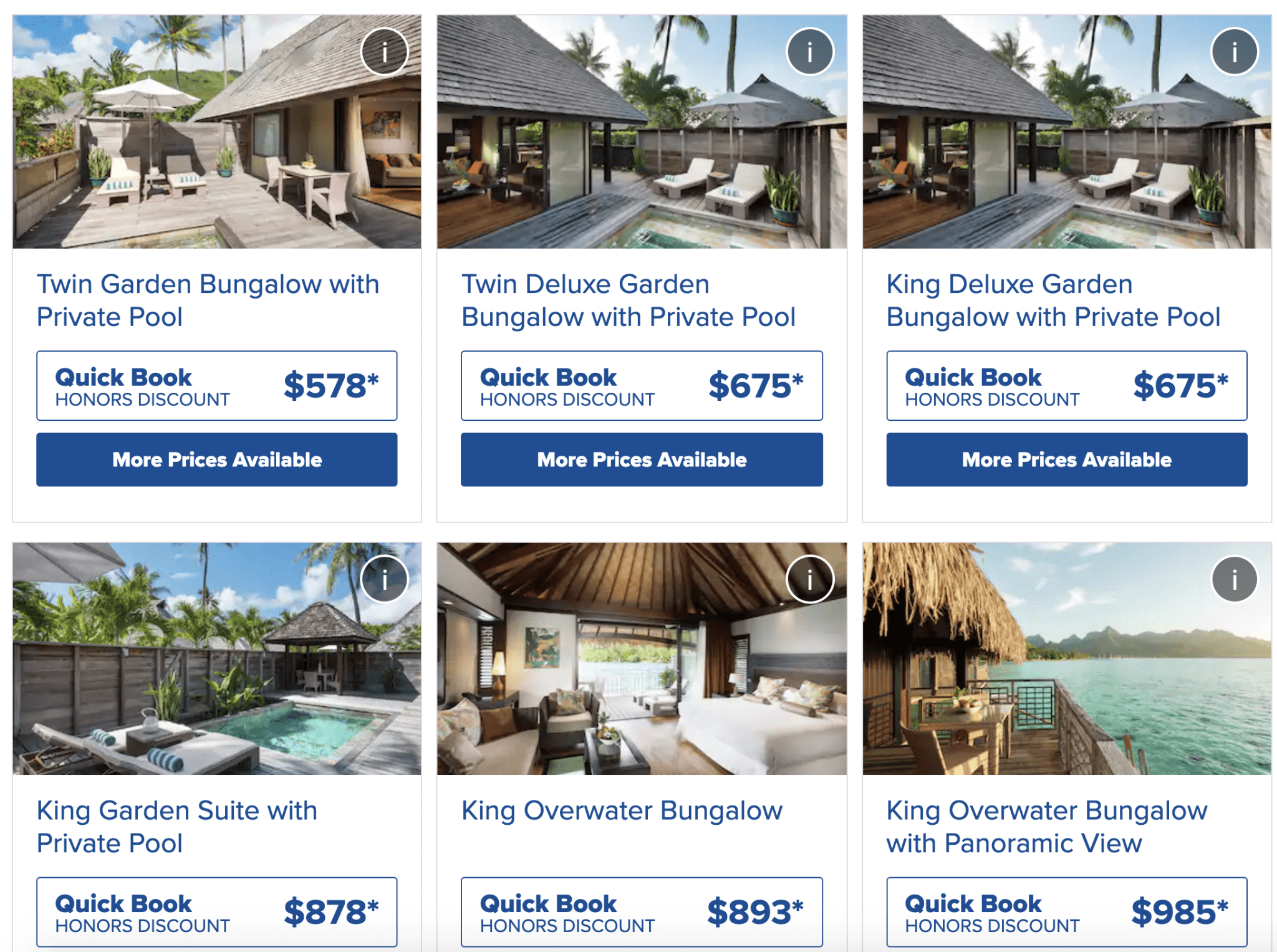 Rates at Hilton Moorea in late September.