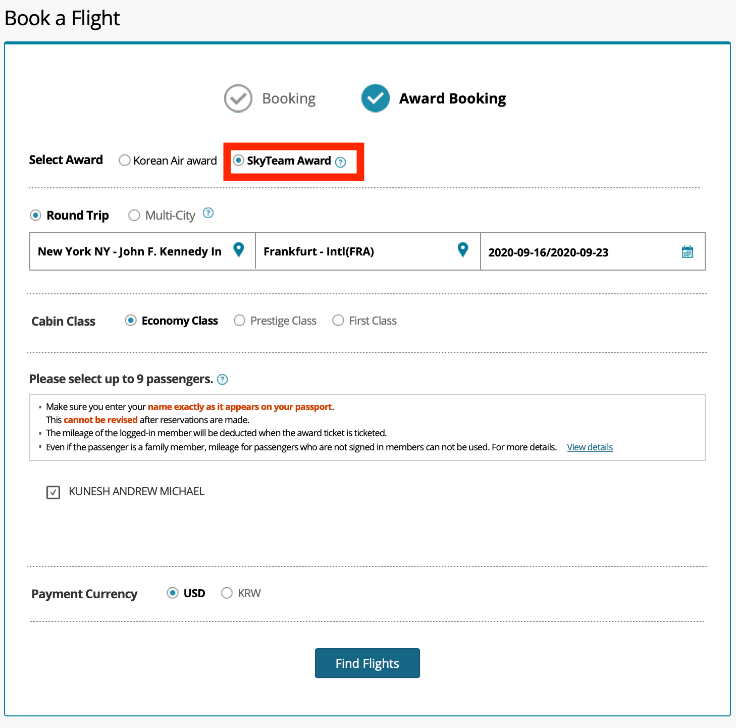 Searching Korean Airlines Website for Award Space