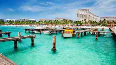 Boats docked in Aruba
