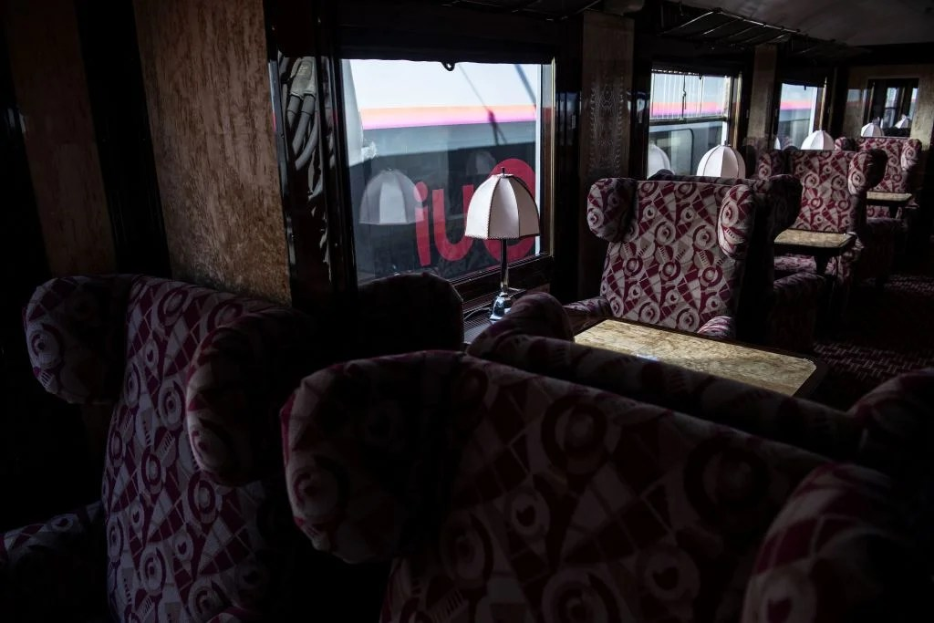 This picture taken on May 13, 2019 shows the interior of a newly-restored carriage of an Orient Express train displayed at the Gare de l'Est train station in Paris. (Photo by Christophe ARCHAMBAULT / AFP) (Photo credit should read CHRISTOPHE ARCHAMBAULT/AFP/Getty Images)