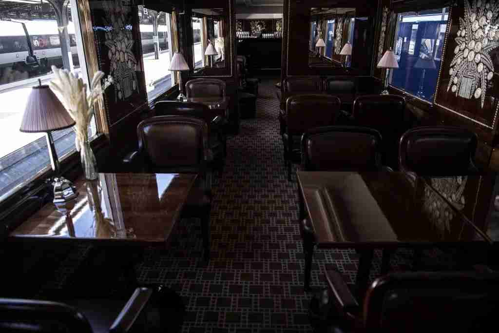 This picture taken on May 13, 2019 shows the interior of a restored carriage of an Orient Express train displayed at the Gare de l