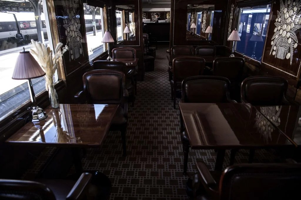 This picture taken on May 13, 2019 shows the interior of a restored carriage of an Orient Express train displayed at the Gare de l'Est train station in Paris. (Photo by Christophe ARCHAMBAULT / AFP) (Photo credit should read CHRISTOPHE ARCHAMBAULT/AFP/Getty Images)