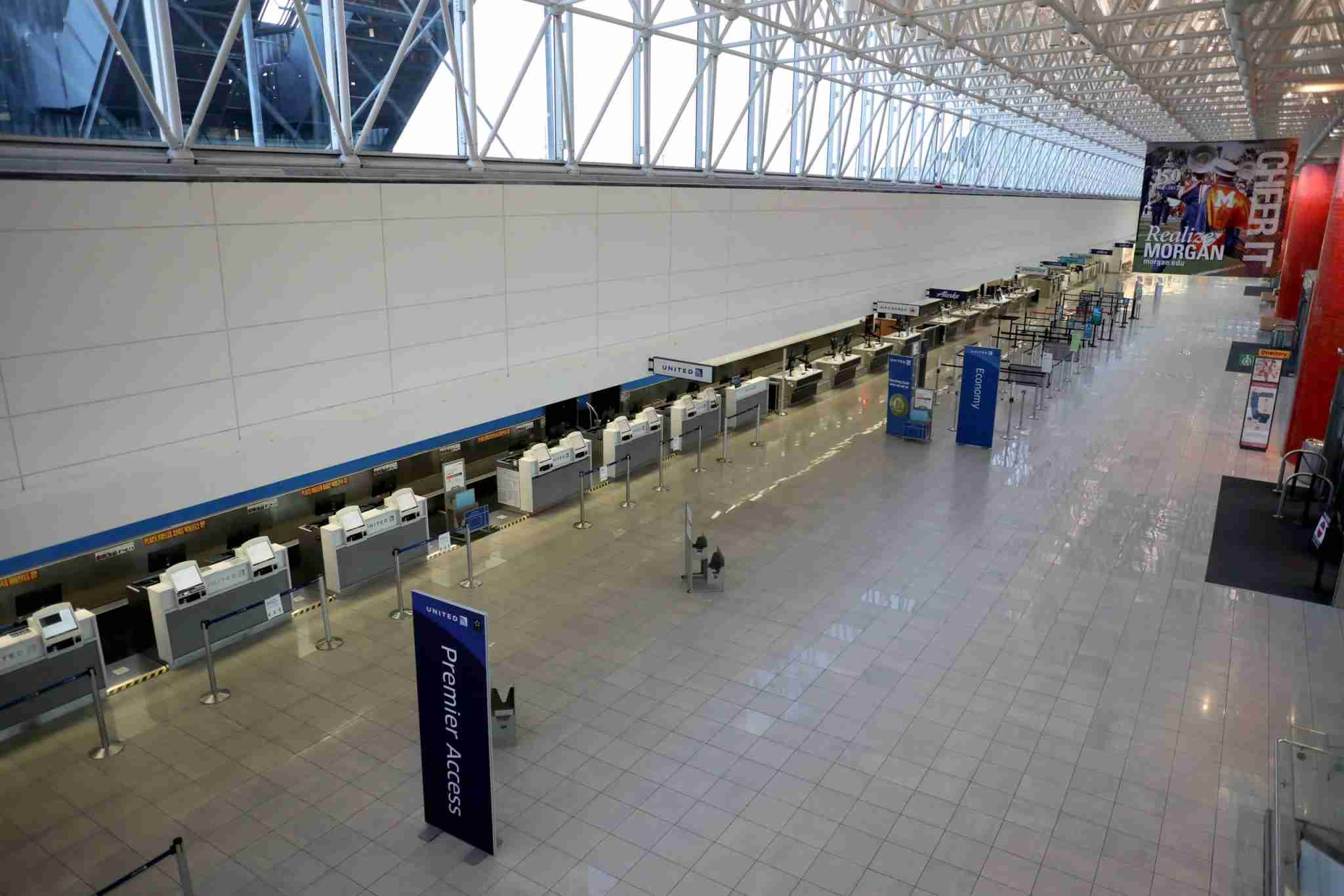 LINTHICUM HEIGHTS, MARYLAND - APRIL 20: A general view of the vacant United Airlines terminal at Baltimore/Washington International Thurgood Marshall Airport during mid-day on April 20, 2020 in Linthicum Heights, Maryland. The airline industry has been hit hard by the COVID-19 pandemic, forcing the cancellation and consolidation of flights across the globe. (Photo by Rob Carr/Getty Images)