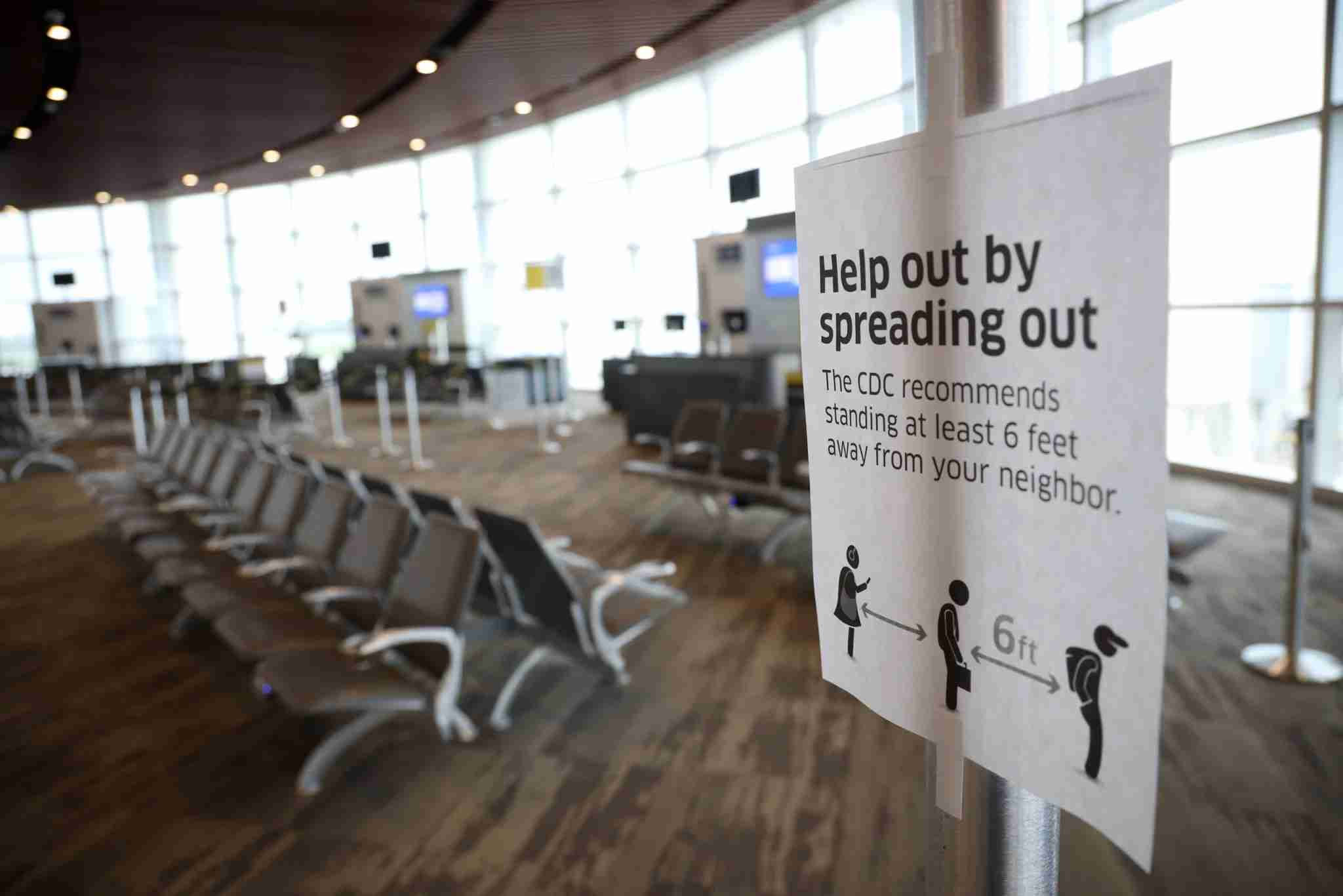 NEW ORLEANS, LA - MAY 15: Empty boarding areas are seen at Louis Armstrong International Airport on May 15, 2020 in New Orleans, Louisiana. Air travel is down an estimated 94 percent due to the coronavirus (COVID-19) pandemic and major U.S. airlines are taking a major financial hit with losses of $350 million to $400 million a day and nearly half of major carriers airplanes are sitting idle. (Photo by Chris Graythen/Getty Images)