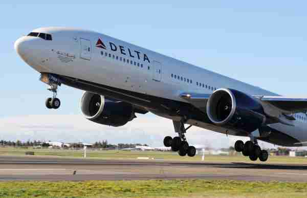 Delta Air Lines takes off on July 4, 2009 in Sydney, Australia. The worlds largest airline, Delta Air Lines, took off from Sydney's International airport with its Boeing 777 for its very first flight from Australia to the United States. The flight now means that Delta fly to every continent in the world and is now complete with its daily service from the States to Australia.