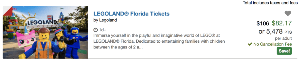 Legoland Florida tickets from Chase travel portal