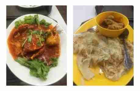 I enjoyed Singaporean food including chili crabs, left, and pork dumplings, right. (Photo by Benét J. Wilson/The Points Guy)