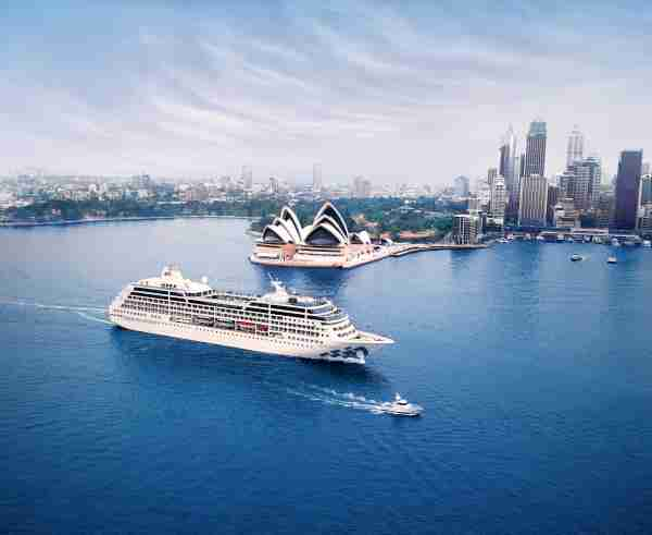 The Princess Cruises ship Pacific Princess sails in the harbor of Sydney, Australia. (Photo courtesy of Princess Cruises)