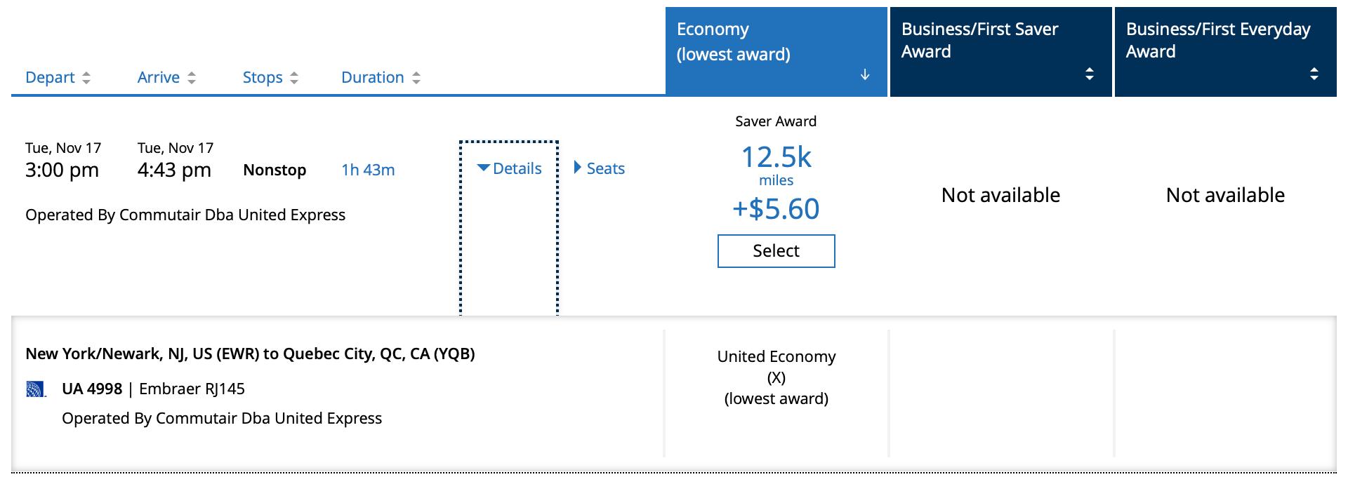 United EWR YBQ Award Price