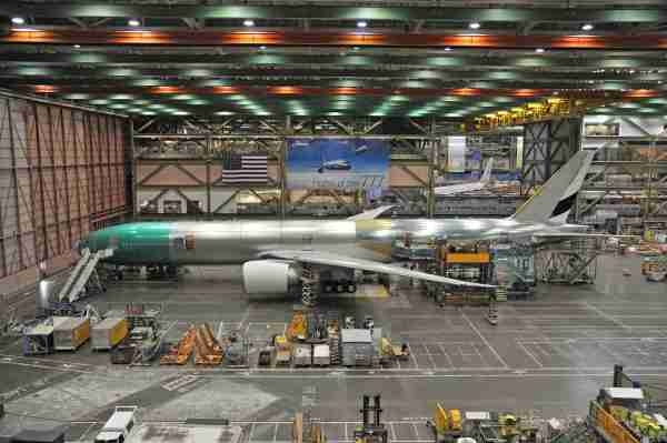 A Boeing 777-300Er for Emirates being built at the Boeing factory in Everett, Washington (Photo by Alberto Riva/The Points Guy)