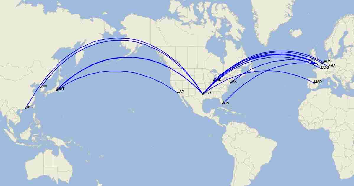 American Airlines long-haul international routes in July 2020, as of June 29. (Image by Cirium)