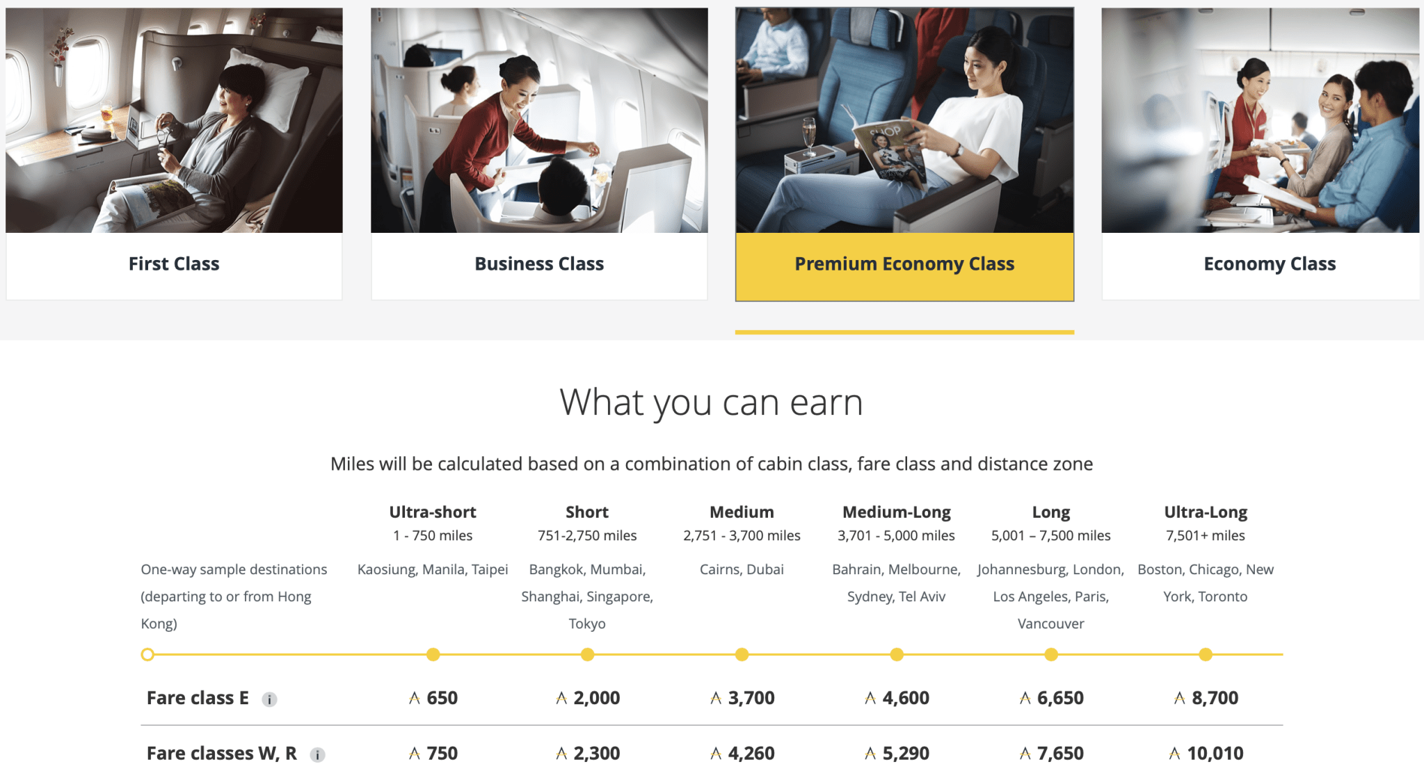 Asia Miles Earning Rates for Cathay Pacific Premium Economy