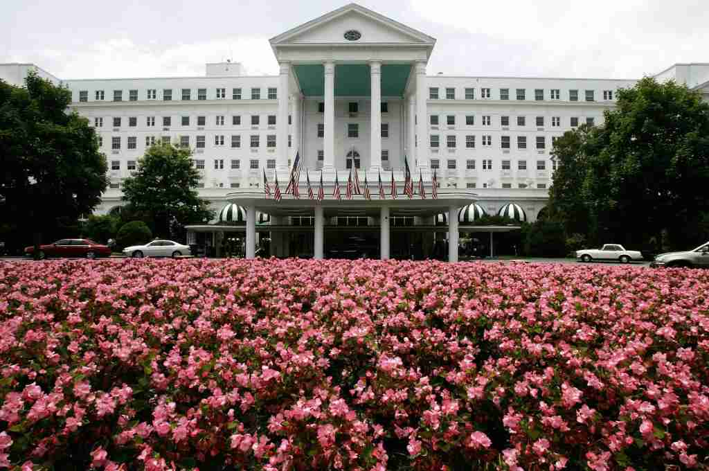 The front entrance of The Greenbrier Resort in White Sulphur Springs, WVa. (Photo by Alex Wong/Getty Images)