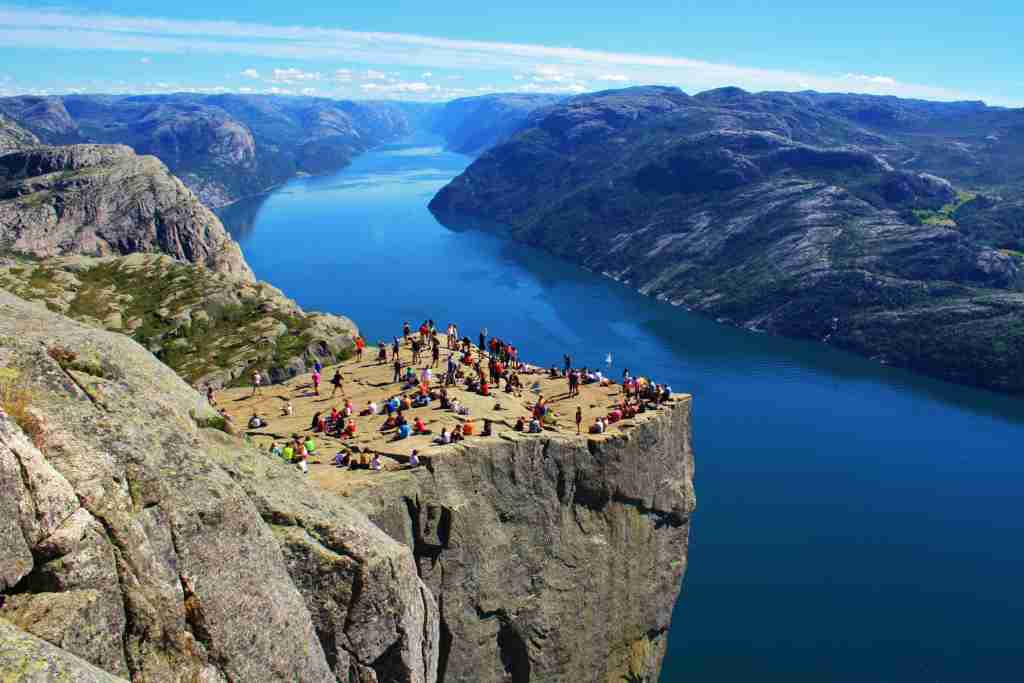 Preikestolen, also known as Pulpit Rock, in Norway. (Photo by Xichao Yu/Getty Images).