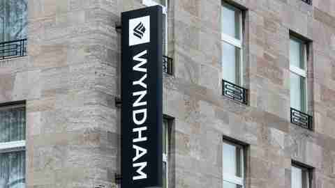 Wyndham Sign on the Side of Hotel Building