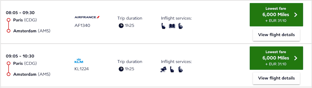 CDG to AMS Flying Blue Award Pricing