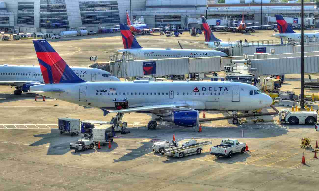 Delta airplanes at the gate in Boston