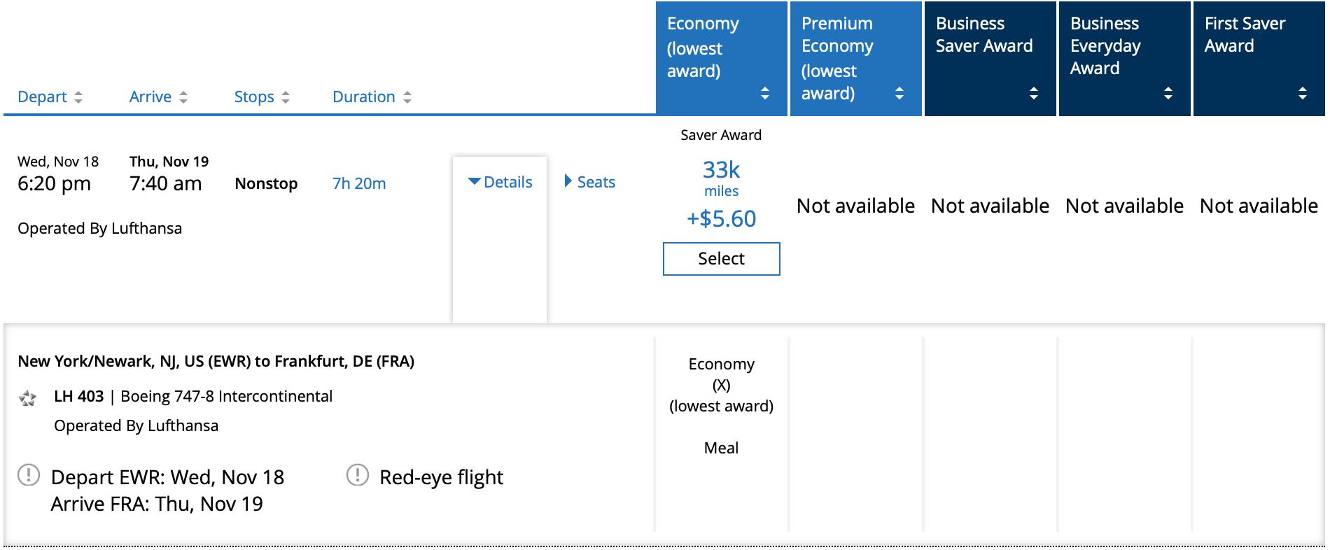 EWR FRA Lufthansa Pricing with United Mileage Plus