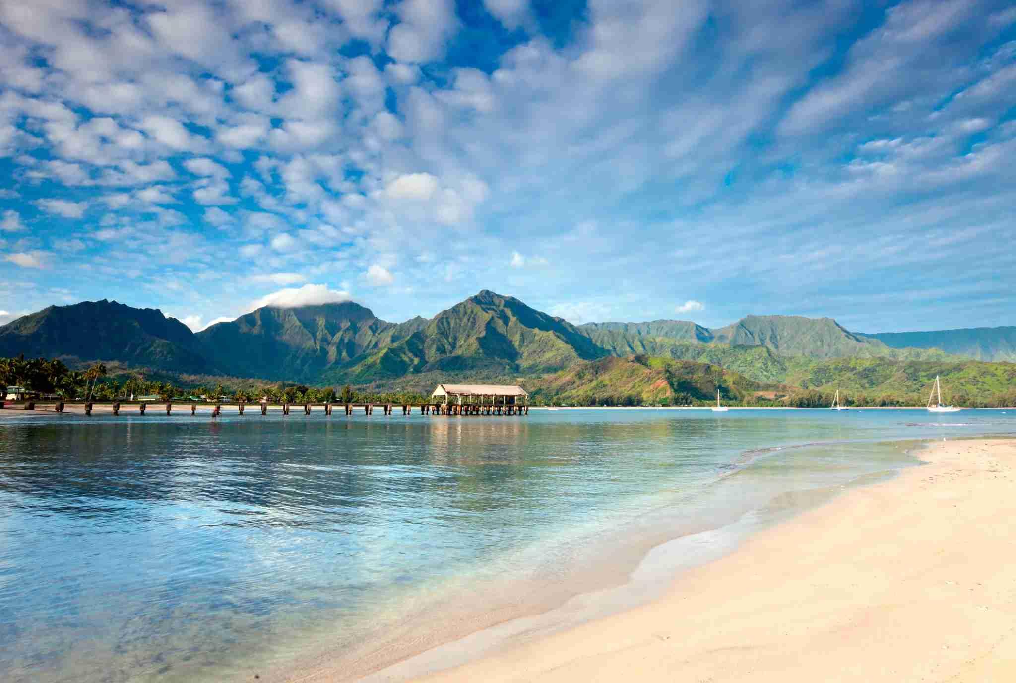 World famous Hanalei Bay seascape scenic beach in Hanalei, Kauai, Hawaii.