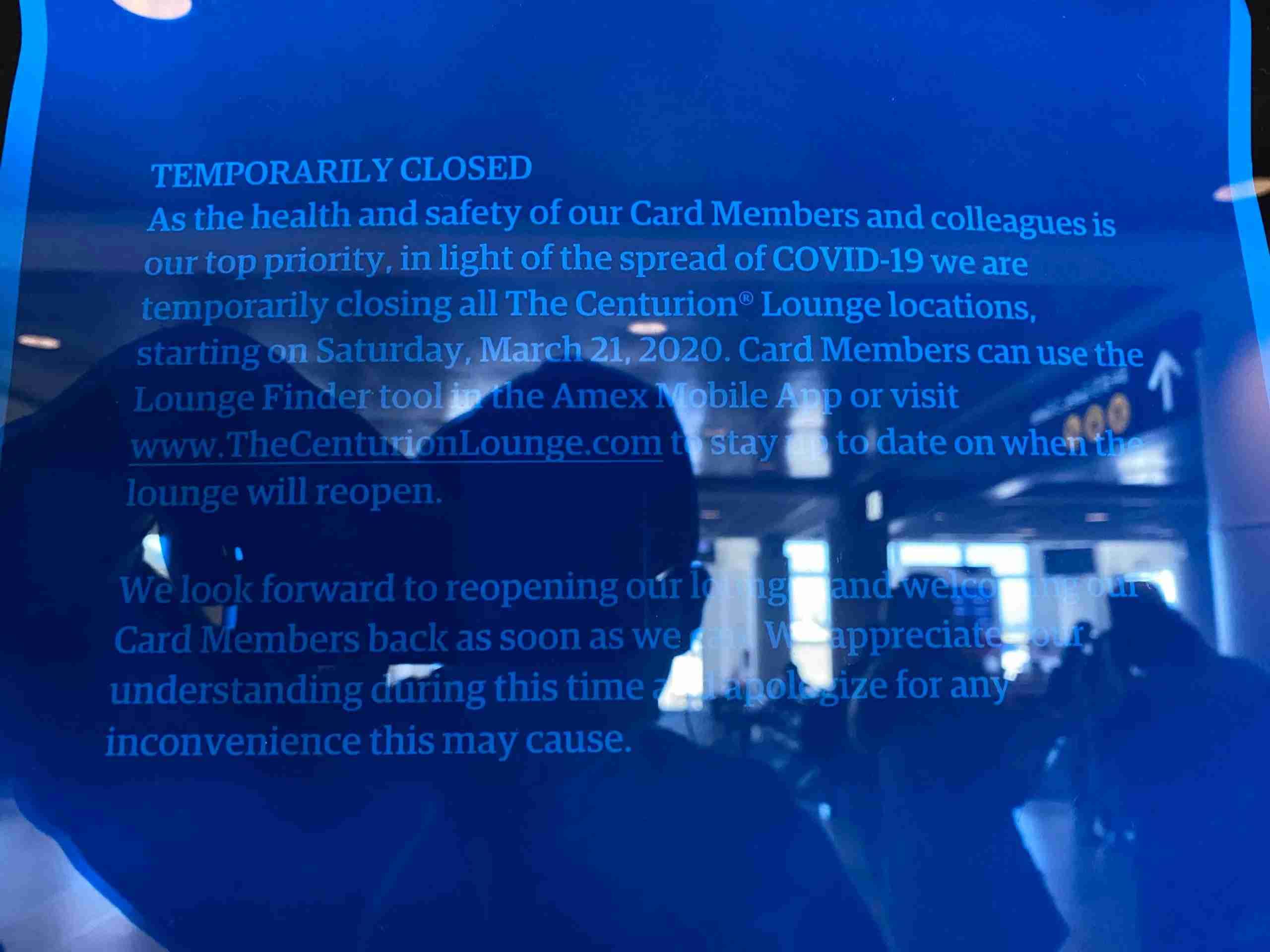 American Express Centurion Lounge closure in Seattle.