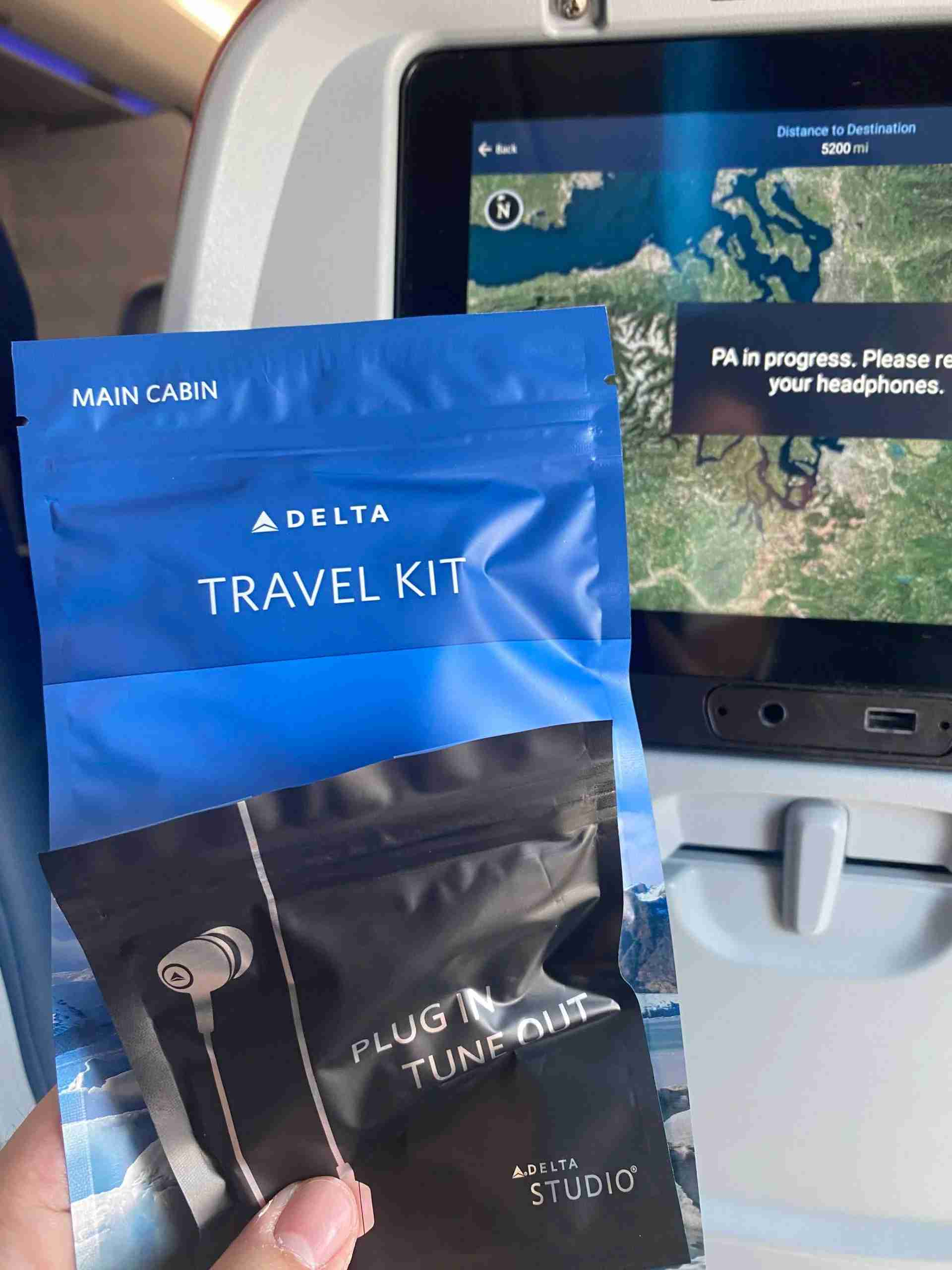 Delta Main Cabin travel kit for international travel during the pandemic