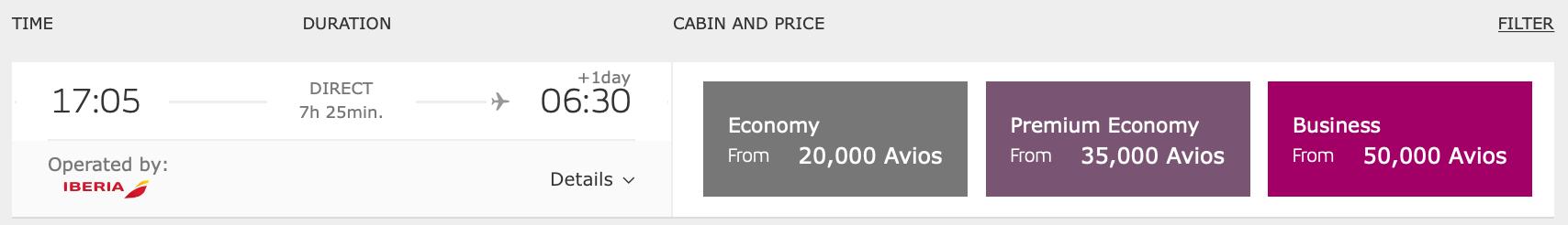 JFK MAD On-Peak Iberia Pricing