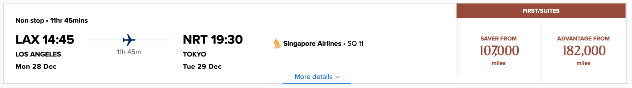 LAX NRT First Class Award Pricing Screen Shot Singapore Airlines