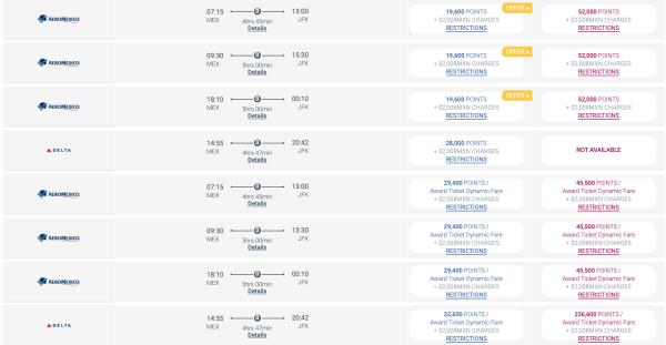 MEX JFK Pricing Premier Club on 12 23 20