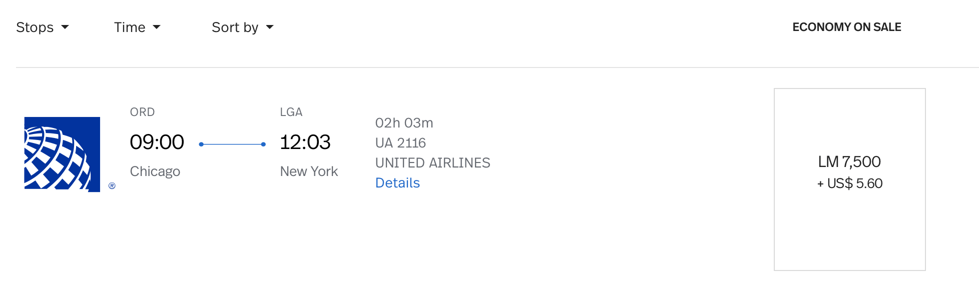 ORD to LGA LifeMiles Pricing on United Airlines