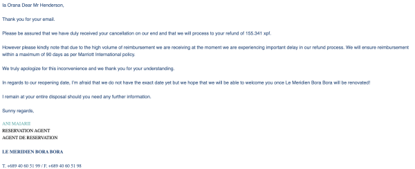 Email from Le Meridien in Bora Bora.