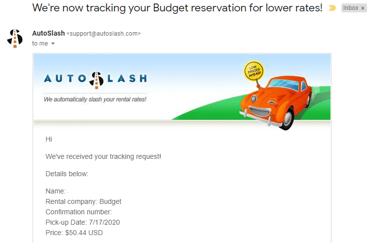 AutoSlash tracking email