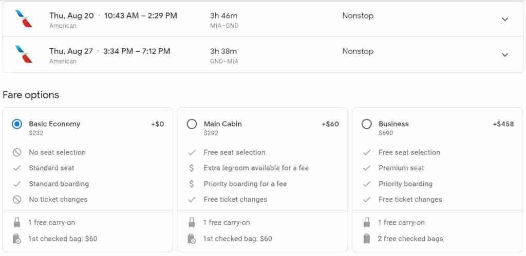 Screenshot courtesy Google Flights.