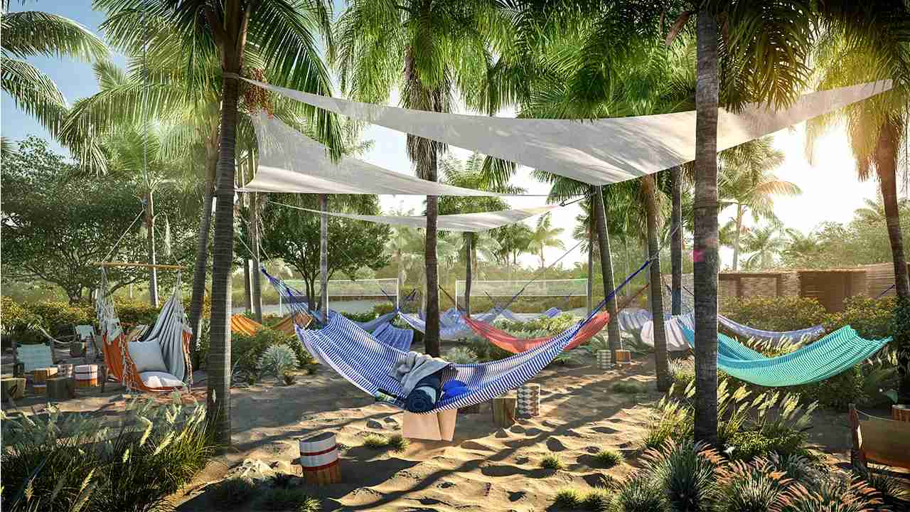 The Beach Club - Bimini - Virgin Voyages - hammocks