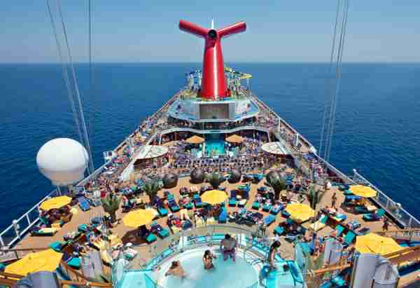 An overhead view of the adults-only Serenity area and Lido Deck aboard the Carnival Sunshine. (Andy Newman/Carnival Cruise Lines)
