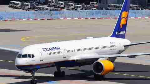 Icelandair Boeing 757-200 airplane at Frankfurt airport