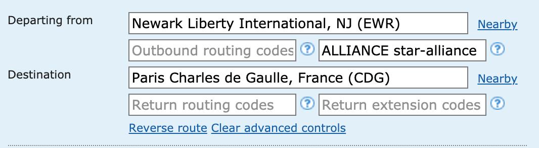 Screengrab from ITA Matrix