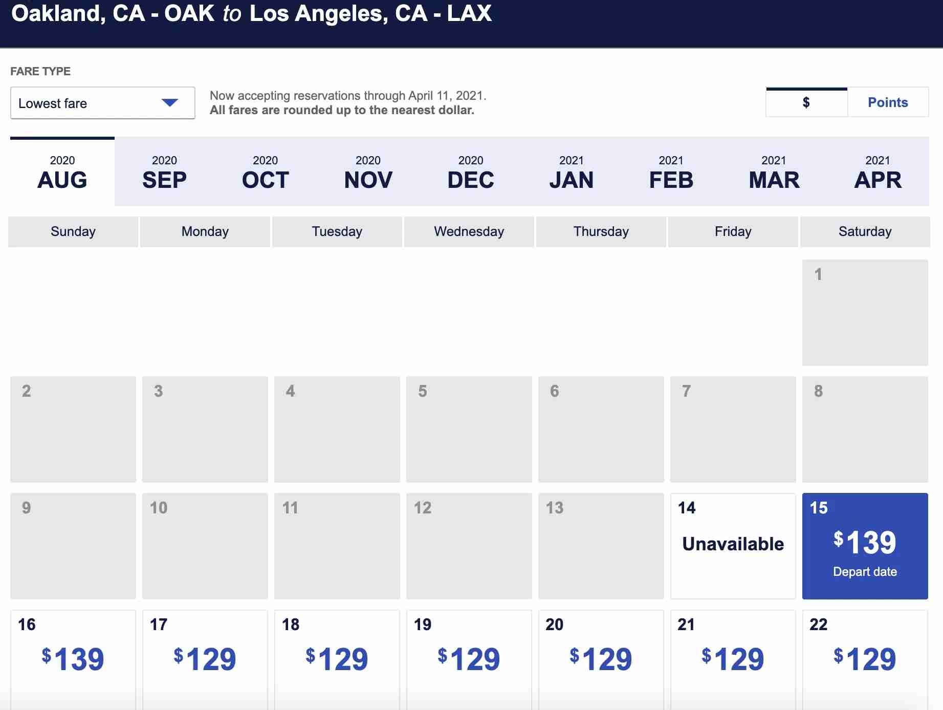 Southwest last-minute fare OAK-LAX