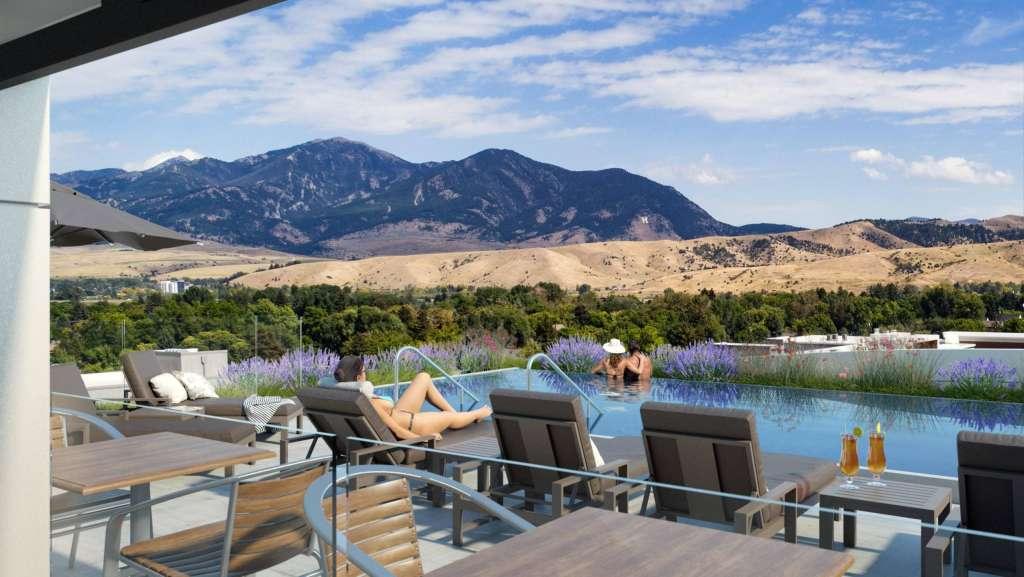 Gorgeous mountain views from the Kimpton Bozeman's pool.