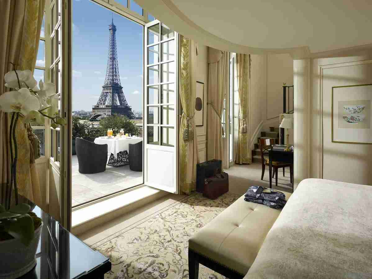 Shangri-La Hotel, Paris has some pretty nice Eiffel Tower views from some of its rooms and suites. (Photo courtesy of Booking.com)