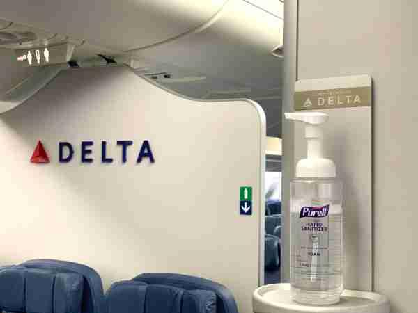 Delta hand sanitizer station. (Photo courtesy Delta Air Lines)