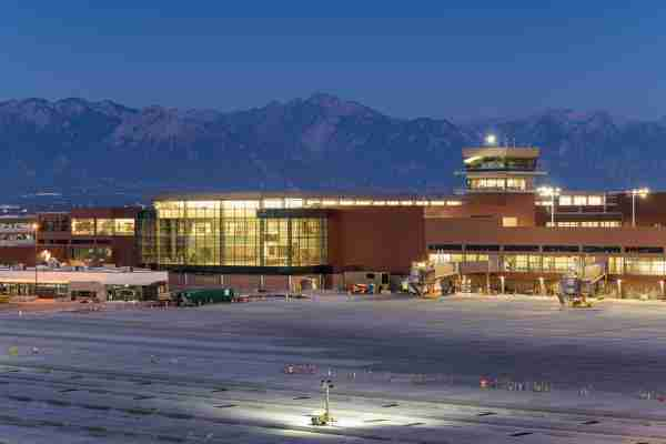 The exterior of the new terminal at Salt Lake City airport. (Image courtesy of Salt Lake City International Airport)
